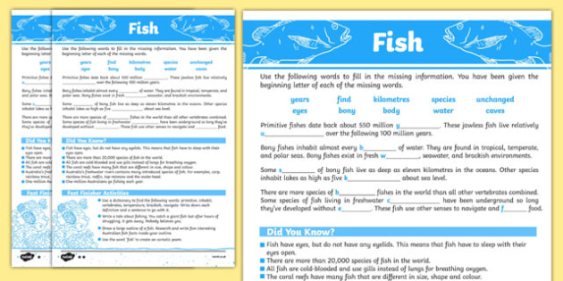 Australian Animals Years 3-6 Fish Differentiated Cloze Passage Activity Sheet - australia, Australian Curriculum, animals, fish, differentiated, cloze, fast finisher, information, reading, worksheet