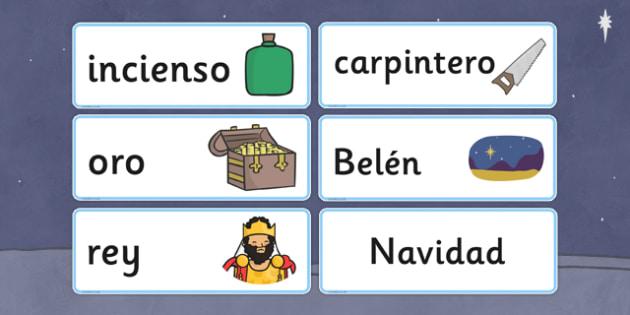 Nativity Topic Words Spanish - spanish, nativity, topic, words, christmas
