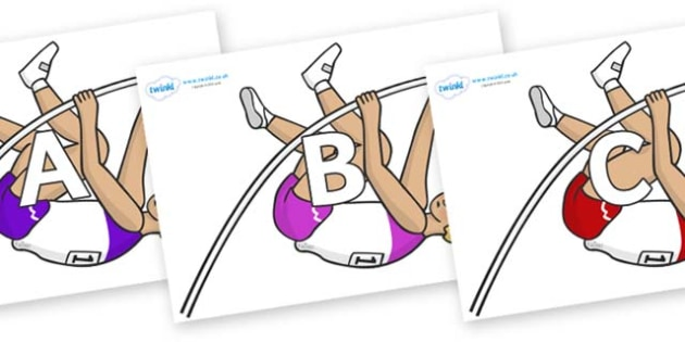 A-Z Alphabet on Pole Vault - A-Z, A4, display, Alphabet frieze, Display letters, Letter posters, A-Z letters, Alphabet flashcards