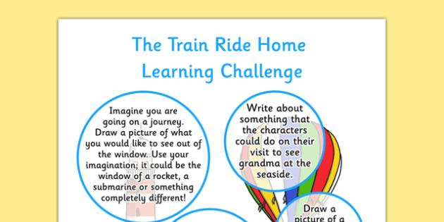 The Train Ride EYFS Home Learning Challenge Sheet Reception FS2 - train ride, eyfs
