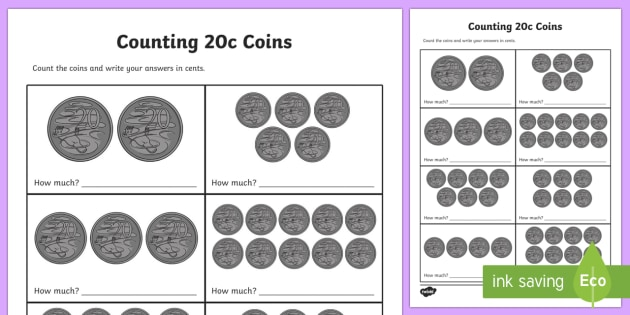 Counting 20c Coins Activity Sheet