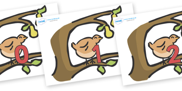 Numbers 0-31 on Partridge in a Pear Tree - 0-31, foundation stage numeracy, Number recognition, Number flashcards, counting, number frieze, Display numbers, number posters