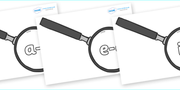 Modifying E Letters on Magnifying Glasses - Modifying E, letters, modify, Phase 5, Phase five, alternative spellings for phonemes, DfES letters and Sounds