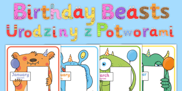 Birthday Beasts Display Pack Polish Translation - sign, label, display, birthday, month, monster, beast, creatures