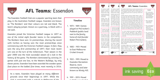 AFL Teams: Essendon Bombers Differentiated Fact File - AFL, essendon, bombers, afl fact files ,Australia
