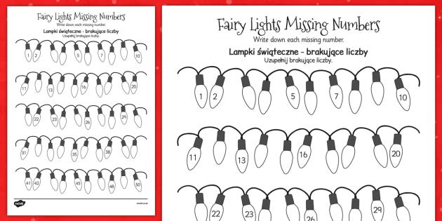 Christmas Fairy Light Missing Number Activity Sheet Polish Translation - maths, counting, KS1, key stage 1, colouring, festive, worksheet