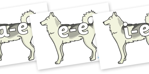 Modifying E Letters on Huskies - Modifying E, letters, modify, Phase 5, Phase five, alternative spellings for phonemes, DfES letters and Sounds