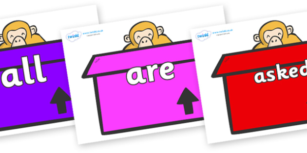 Tricky Words on Monkeys (Box) to Support Teaching on Dear Zoo - Tricky words, DfES Letters and Sounds, Letters and sounds, display, words