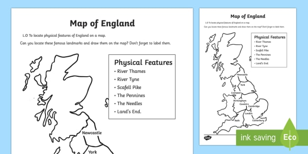 Physical Features of England Activity Sheets - geography, activities