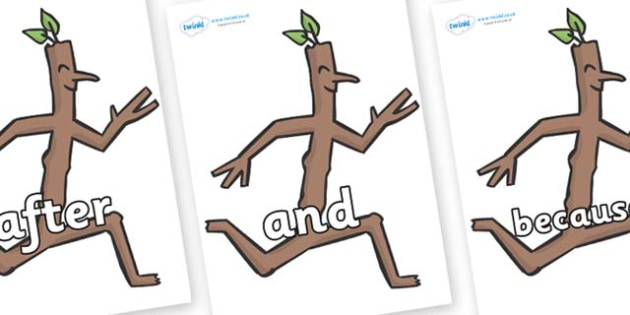Connectives on Stick Man to Support Teaching on Stick Man - Connectives, VCOP, connective resources, connectives display words, connective displays