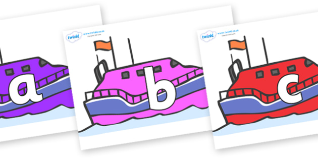 Phoneme Set on Lifeboats - Phoneme set, phonemes, phoneme, Letters and Sounds, DfES, display, Phase 1, Phase 2, Phase 3, Phase 5, Foundation, Literacy