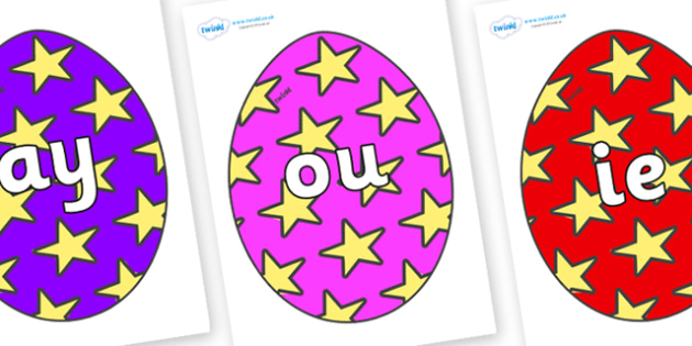 Phase 5 Phonemes on Easter Eggs (Stars) - Phonemes, phoneme, Phase 5, Phase five, Foundation, Literacy, Letters and Sounds, DfES, display