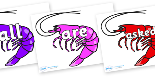 Tricky Words on Shrimps - Tricky words, DfES Letters and Sounds, Letters and sounds, display, words