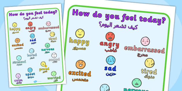 How Do You Feel Today? Emotions Chart Arabic Translation - arabic