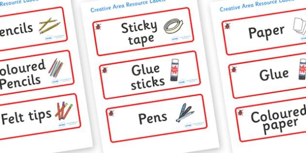 Ladybug Themed Editable Creative Area Resource Labels - Themed creative resource labels, Label template, Resource Label, Name Labels, Editable Labels, Drawer Labels, KS1 Labels, Foundation Labels, Foundation Stage Labels