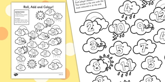 Weather Themed Roll and Colour Worksheet - seasons, colouring