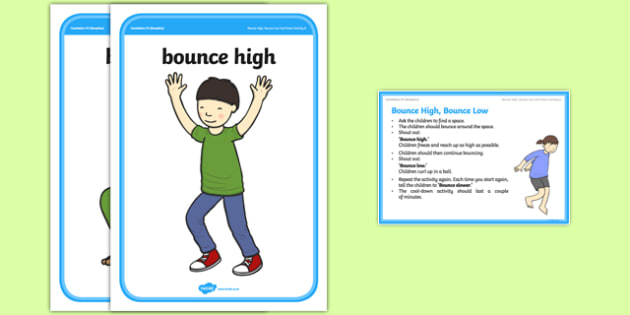 Foundation PE (Reception) Bounce High, Bounce Low Cool-Down Activity Card - physical activity, foundation stage, physical development, games, dance, gymnastics