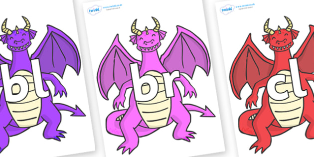 Initial Letter Blends on Dragons (2) - Initial Letters, initial letter, letter blend, letter blends, consonant, consonants, digraph, trigraph, literacy, alphabet, letters, foundation stage literacy