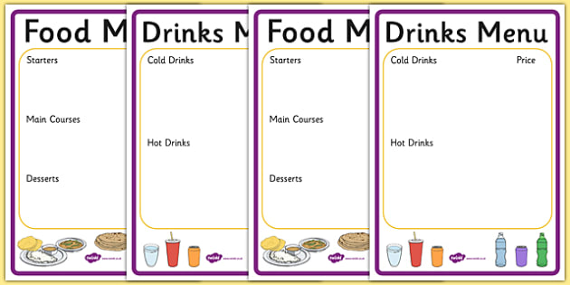 Indian Menu Writing Frame - indian menu, indian food, writing frame, menu writing frame, writing aid, page borders, writing template, food list, fill in, india, cuisine, food and drink, roleplay, restaurant