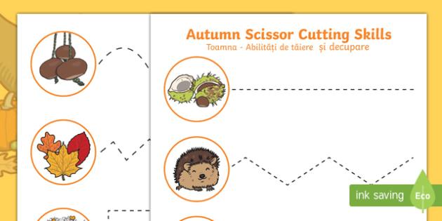 Autumn Cutting Skills Activity Sheet English/Romanian
