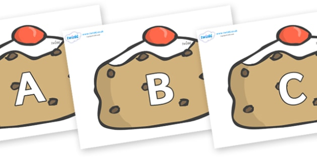 A-Z Alphabet on Currant Buns - A-Z, A4, display, Alphabet frieze, Display letters, Letter posters, A-Z letters, Alphabet flashcards