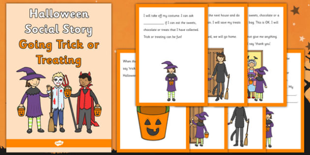 Halloween Social Story Going Trick or Treating - halloween, social story, trick, treat