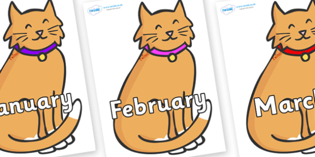 Months of the Year on Pussy Cats - Months of the Year, Months poster, Months display, display, poster, frieze, Months, month, January, February, March, April, May, June, July, August, September