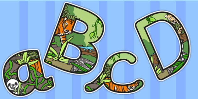 Jungle Themed Size Editable Display Lettering - jungle, letters
