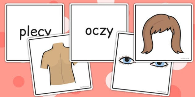 Parts of the Body Word and Picture Matching Cards Polish - polish