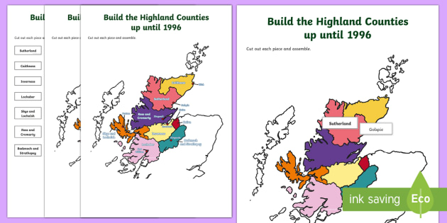 Highland Counties until 1996 Jigsaw Map-Scottish - Requests CfE, map, Highlands, Scotland, Scottish Highlands, jigsaw,Scottish