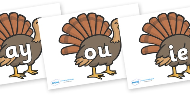 Phase 5 Phonemes on Turkeys - Phonemes, phoneme, Phase 5, Phase five, Foundation, Literacy, Letters and Sounds, DfES, display