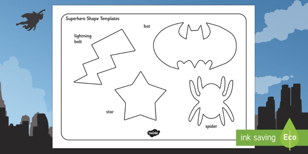 Superhero Shape Templates - superhero, shape, templates, hero