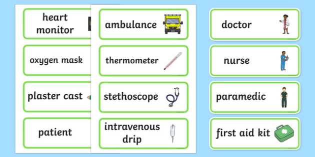 Hospital Word Cards - Hospital Role Play, hospital resources, people who help us, nurser, doctor, hospital, ward, bandages, role play, display, poster, Word cards, Word Card, flashcard, flashcards,