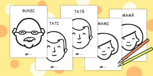 Familia Mea, Fișe de Colorat - preșcolar, membrii familiei, A4, Romanian