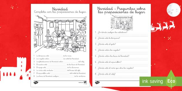 Preposiciones de lugar: Navidad - navidad, prepoiciones, situación, Spanish