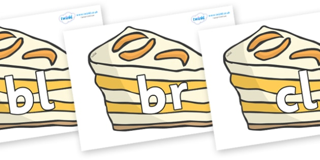 Initial Letter Blends on Peach Desserts to Support Teaching on The Lighthouse Keeper's Lunch - Initial Letters, initial letter, letter blend, letter blends, consonant, consonants, digraph, trigraph, literacy, alphabet, letters, foundation stage liter