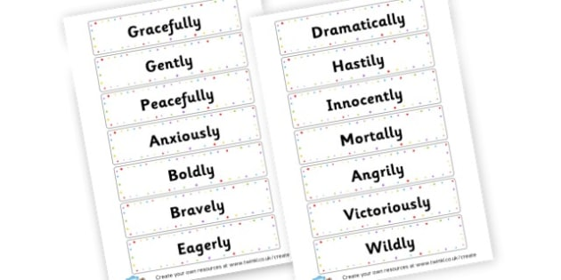 Adverbs Cards - Verb Primary Resources, verbs, noun, adjective, wow, keywords