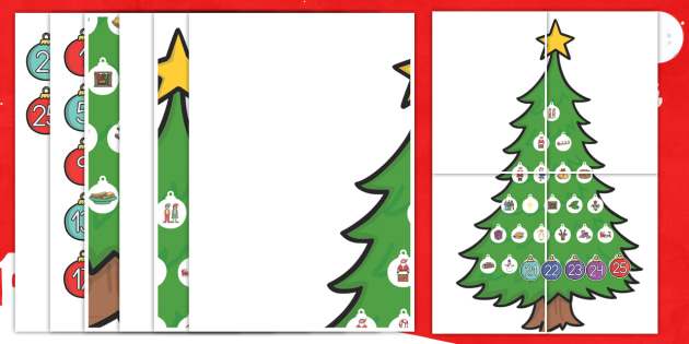 Calendario de Adviento: Árbol de Navidad - adviento, advent, calendario, navideño, decoración, decorar - adviento, advent, calendario, navideño, decoración, decorar