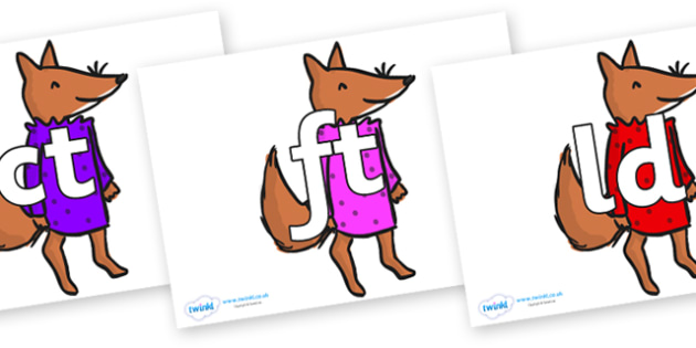 Final Letter Blends on Small Fox 3 to Support Teaching on Fantastic Mr Fox - Final Letters, final letter, letter blend, letter blends, consonant, consonants, digraph, trigraph, literacy, alphabet, letters, foundation stage literacy