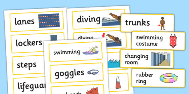 Swimming Pool Word Cards - swimming, pool, word cards, cards
