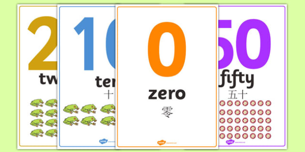 0-50 Number Word Image Posters Mandarin Chinese Translation - mandarin chinese, display, sign, zero, fifty, numbers, maths, letters, early years, KS1, KS2