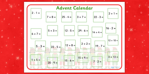 Addition and Subtraction Advent Calendar - advent, add, subtract