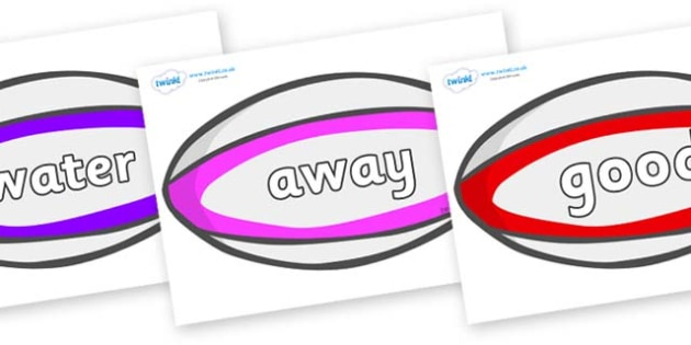 Next 200 Common Words on Rugby Balls - Next 200 Common Words on  - DfES Letters and Sounds, Letters and Sounds, Letters and sounds words, Common words, 200 common words