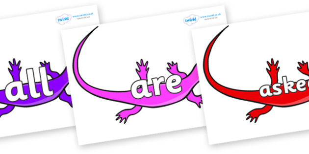 Tricky Words on Skink Lizards - Tricky words, DfES Letters and Sounds, Letters and sounds, display, words
