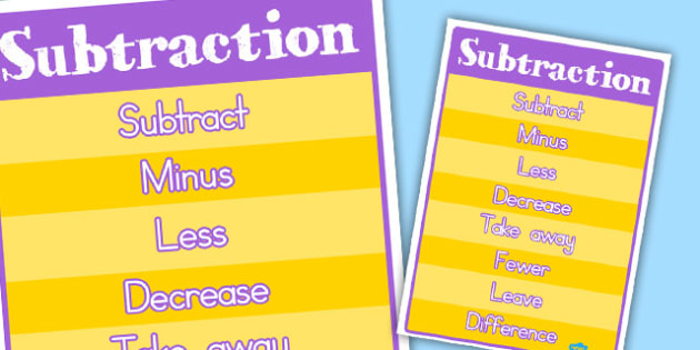 Subtraction Vocabulary Poster - australia, subtraction, vocabulary, poster