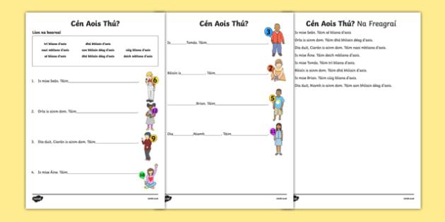 Cén Aois Thú? Activity Sheet - Irish, worksheet