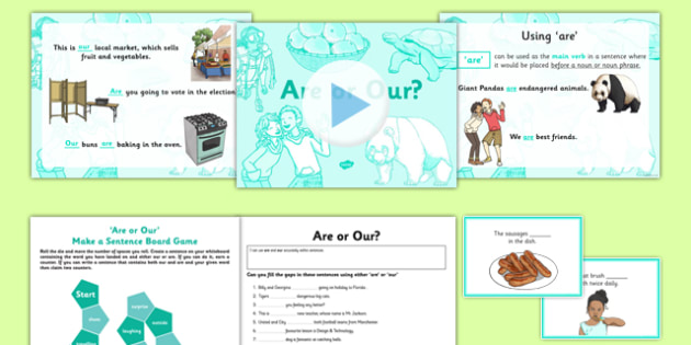 Are or Our? Resource Pack - are, our, homophones, commonly-confused keywords