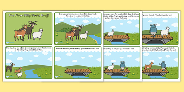 The Three Billy Goats Gruff Story Sequencing (4 per A4) - the three billy goats gruff, three billy goats gruff story, three billy goats gruff story cards