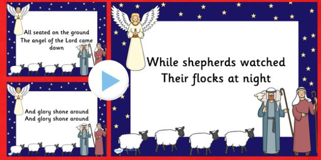 While Shepherds Watch Christmas Carol Lyrics PowerPoint - while shepherds watch, christmas, christmas carol, lyrics powerpoint, christmas songs, powerpoint
