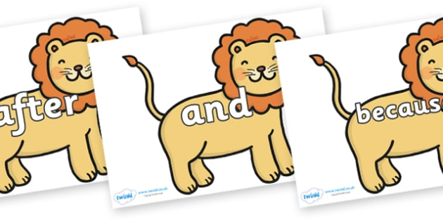 Connectives on Lions - Connectives, VCOP, connective resources, connectives display words, connective displays